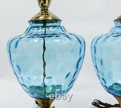 Vtg Mid Century Modern Blue Coin Glass Murano Table Lamps Hollywood Regency Gold