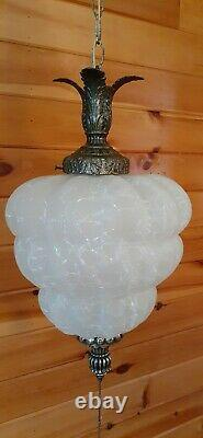 Vtg Mid Century Retro Hanging Swag Light/Lamp Frosted Crackle Glass 1 Available