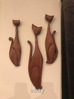 Vtg Mid Century Sexton-Like 3 wood carved wall cats. Possibly design precursors