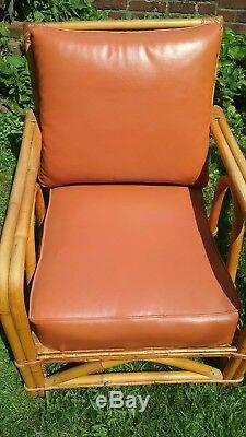 Vtg Pair 2 Mid Century Rattan Bamboo Lounge Chairs w Orange Cushions Ficks Reed